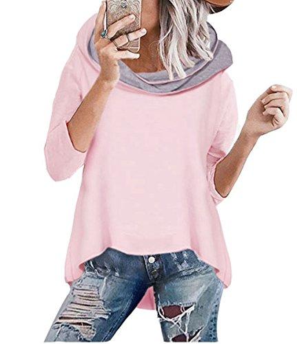 ASSKDAN Damen Mode Kapuzenpullover Rosa Hoodie Hoher Kragen Langarm Pullover Sweatshirt Mit Kapuze - Herbst Winter (42/XL, 1 Rosa)