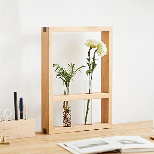 Moderner minimalistischer Art-fester hölzerner Blumen-Stand, Inneneinzelner Stand, kreative Möbel, hölzerne Wand-Dekoration ( Farbe : Natural color ) - Walnuss-wand Montieren