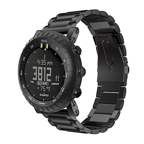 SongNi Stainless Steel Watch Bracelet Cinturino Strap For Suunto Core Watch-Three Strains Black