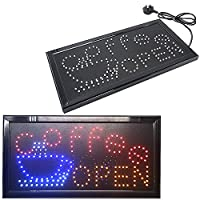 Great Quality Super Bright Flashing Colourful Coffee Open Cafe Window Shop Hanging Neon Display LED Light sign 48cmx25cm