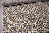 Pinidi Stoff/Meterware/ab 25cm / Beschichtete Baumwolle (Tante Ema) Kreise rosa, gelb, grün, lila