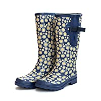 Blue Extra Wide Calf Ladies Wellies with Daisy Design Adjustable to 52cm. Snug in The Foot and Wide in The Calf