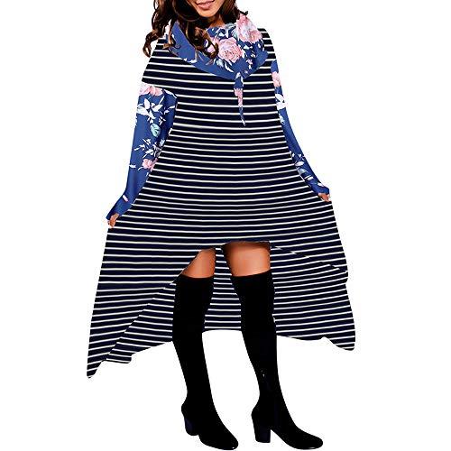 Subfamily Langarmshirts Damen, Frauen Herbst Lose Lange Langarm mit Kapuze Asymmetrische Saum Kariert Pullover UnregelmäßIge Hoodie Bluse Tops Sweatshirt Damen Blusenkleid (Blau, M)