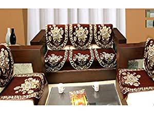 Zesture Bring Home 6 Piece Cotton Sofa and Chair Cover Set - Brown