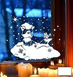 ilka parey wandtattoo-welt® Fensterbild Fensterdeko Winterbild Winter Fuchs Vogel Schnee Schneeflocken Sterne Punkte M1705 - ausgewählte Farbe: *Weiß* - ausgewählte Größe: *L - 37cm breit x 37cm hoch*