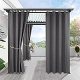 Outdoorgardine für Patio Gärten Balkon - RYB HOME 1 Stück Verdunkelungsvorhänge 240 x 132 cm (H X B), Grau Wasserdicht Sonnenschutz Anti-verblassen