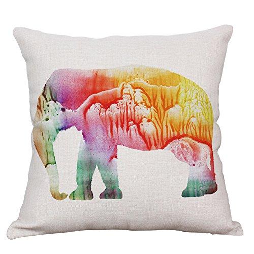 Vesub Kissenbezug, Wurfkissenbezug,Tiermotive: Afrikanische Savanne; Wilder Elefant; Löwe; Hirschkissen 45,7x 45,7cm., #1, 1 PC