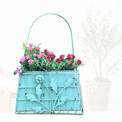 HZH Kreativer Taschen-Eisen-Wand-hängender Blumen-Korb-Korb-hängende Wand-europäisches Blumen-Gestell