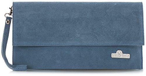 LiaTalia Italienische Armclutch aus Wildleder mit Baumwollfutter und Staubschutztasche - Cheryl Denim Blau