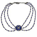 Alpenflüstern Perlen-Trachtenkette Viola - Damen-Trachtenschmuck Dirndlkette blau DHK148