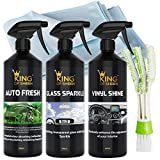 King of Sheen interni auto - Kit di pulizia auto Fresh 500 ml, vinyl Shine 500 ml e vetro Sparkle 500 ml + professionale vetro panno di pulizia e deodorante per auto