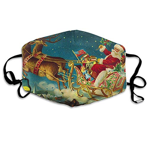 Santa Claus and Reindeer Painting Mouth Mask Dust Gesichtsmaske Washed Reusable Outdoor Activities (Santa Haut Anzug)
