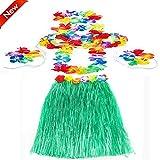 Popamazing 60cm Hawaiian Hula Skirt And 4 Pcs Lei Set Ladies Luau Fancy Dress Costume in Red/Green/Yellow/Pink/Blue (Green)