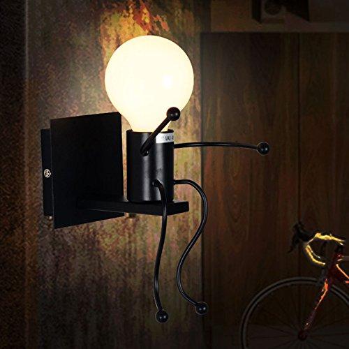 fixé au mur Lampe de chevet rétro de chambre à coucher de pays américain, éclairage de mur de vilain créatif minimaliste