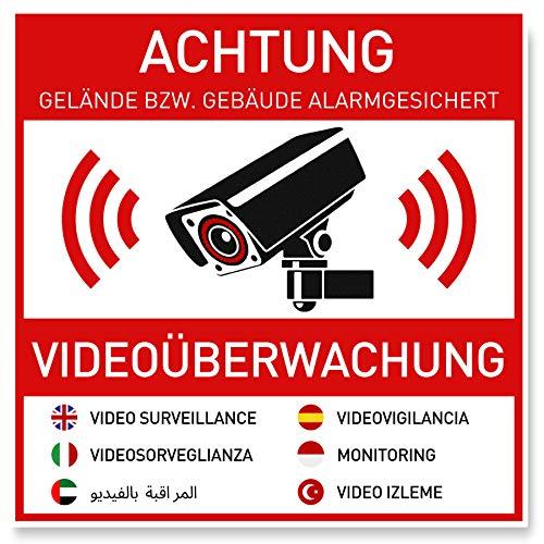 7 x Aufkleber Videoüberwachung (10 x 10 cm) - Sticker für mehr...