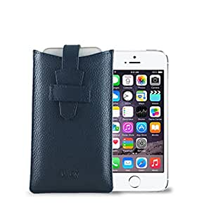 GoGappa iPhone 5/5s Premium Leather Cover with a loop (Blue) FREE Canvas bag for extra protection