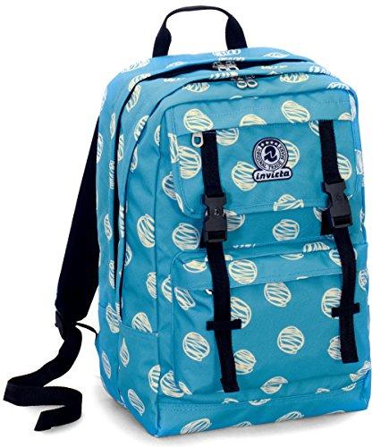 Zaino duffy invicta , brushed dots , azzuro , 30 lt , doppio scomparto , per portatile , scuola e tempo libero