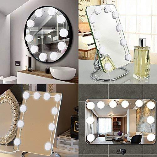 Fuhaoo Espejo de iluminación, 10 Piezas lámparas regulables USB, Dressing Mirror Lighting Dormitorio...