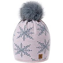 Romens Ltd Gorro Beanie De Invierno para Mujer Copos de Nieve Pompón de  Estilo Esquí y 6318584ff39