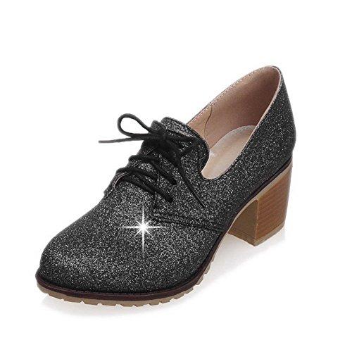 VogueZone009 Femme à Talon Correct Couleur Unie Lacet Rond Chaussures Légeres Noir