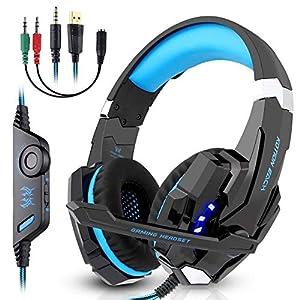 LESHP Gaming-Headset G9000 mit Audiokabel, Mikrofon, Stereo-Audio-Bass mit LED-Taschenlampe für PS4-Controller, PC, Laptop und Gerät Schwarz und blau