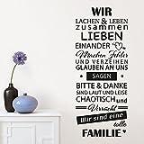Wandora W1474 Wandtattoo Wandaufkleber Wandsticker Zitat Wir sind eine tolle Familie schwarz (BxH) 58 x 144 cm