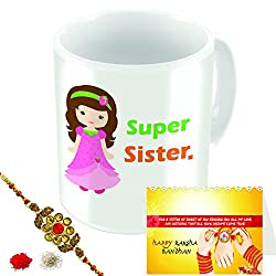 Aart Store Supper Sister Multi Colours Printed Mug, Greeting Card, Rakhi, Roli, Chawal Gift Pack for Brothers/Sisters to Enjoy Raksha Bandhan Festival.