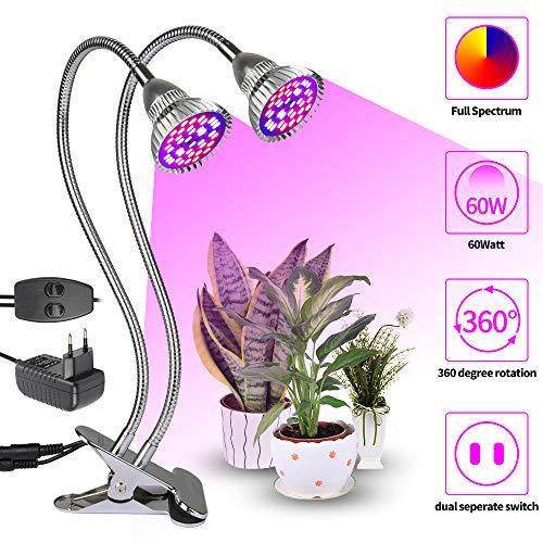 36W Double Tête Lumière de Croissance XJLED Plante Lumière Lampe Plein Spectre Plante Lumière Croissance Lampe Terminal Lumières avec 360 Degrés Réglable Flexible Col de cygne pour Bureau