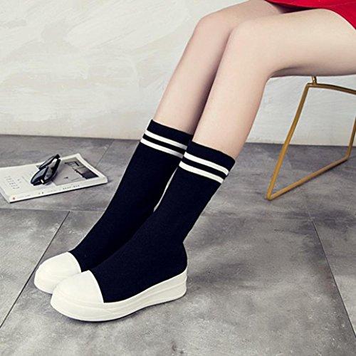 Longra Le scarpe da donna in autunno e lana invernali con il colore solido della punta delle donne calzano i caricamenti del sistema dei pattini solidi del tubo della femmina Nero