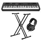 Classic Cantabile SP-100 Stagepiano Stage-Set (portables E-Piano, Ständer, Kopfhörer, Sustain-Pedal, Hammermechanik, 88 Tasten, Kopfhöreranschluss, Aufnahmefunktion) schwarz