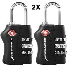 XCSOURCE 2 pezzi TSA sicurezza a 3 cifre di combinazione della valigia bagagli bag Codice blocco lucchetto XC303