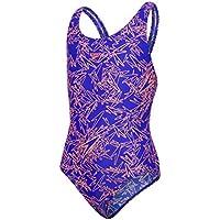 Speedo Boom Allover Splashback, Costume da Bagno Bambina, Blu Elettrico/Arancione Fluo, 26