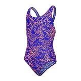 Speedo Mädchen Boom Allover Badeanzug, Mehrfarbig (Ultrasonic/Fluo Orange), 116 cm (Herstellergröße: 24)