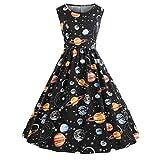 Damen Sommer Abendkleid Rosennie Frauen Vintage Mode Lose Casual Elegant Chic Tunik Einzigartig Printing Süße O-Ausschnitt Hohe Taille Sternenhimmel Planeten Space Dress Ballkleid (Schwarz, M)