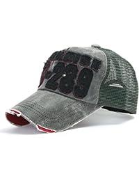 ililily Distressed Vintage Pre-curved Mesh Baseball Cap with Adjustable Strap Snapback Trucker Hat (ballcap-440)