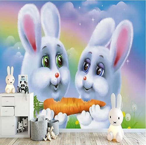 Wand Wandbilder Dekorationen Aufkleber Cartoon-Kaninchen-Karottenkind Dekorativ Kunst Kinder Zimmer (W) 300x(H) 210cm ()