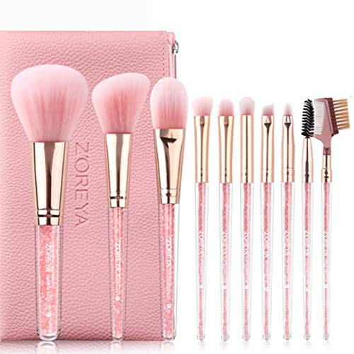 AA-SS-Makeup Brush Kit de pinceaux de Maquillage pour Les Yeux avec Rose Portable Pochette Rouge - Rose avec Rose