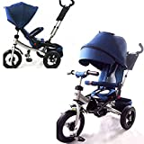 Little Tiger passeggino e triciclo 4 in 1, con sedile girevole e schienale reclinabile, Navy Blue