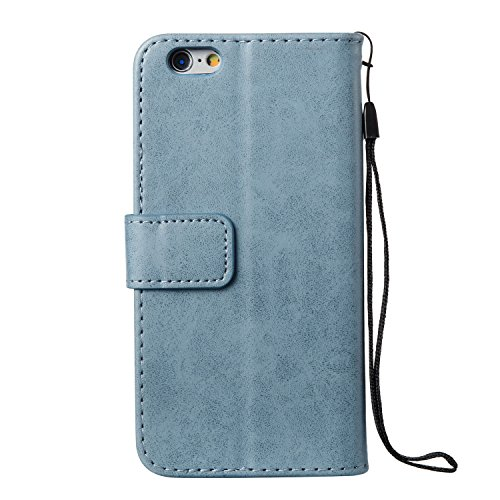Custodia per iPhone 6 Plus/iPhone 6s Plus (5.5), EUWLY Book Style PU Leather Custodia Case Cover Per iPhone 6 Plus/iPhone 6s Plus (5.5) Portafoglio Custodia Goffratura Ragazza di Farfalla Shell Cove Cranio,Blu