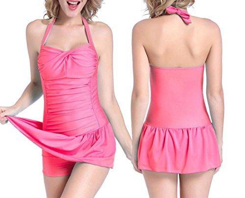 PRIDE S Art- und Weisebadebekleidungs-Rock-Art-flacher Winkel Großer einteiliger Badeanzug-Bikini-Strand-Badebekleidungs-Badekurort-Badeanzug Pink