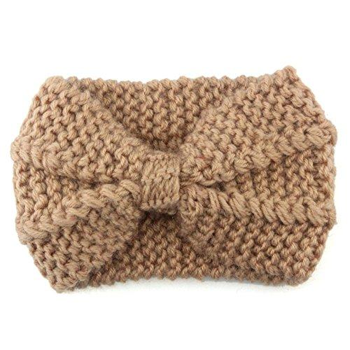 BakeLIN Frauen Haarband Handgemacht Stricken Halten Sie Warmes Headbands Haar Band Kopftuch Stirnband Haarreif Haarschmuck (Braun) (Band Stricken)