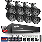 Sannce 8CH HD 1080N/ 720P CCTV DVR 1TB HDD  8x 1280*720P 1.0 Megapixels Weatherproof Security Camera System, 1080P NVR Hybrid Recorder, Smart