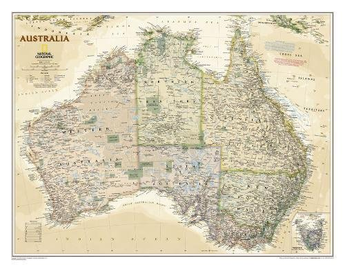 Australia Classic, Tubed: Wall Maps Continents (National Geographic Reference Map)