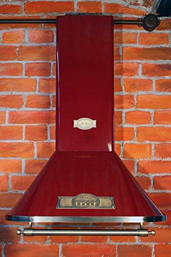 Dunstabzugshaube 60cm Empire Bordeaux/Wandhaube/Kaminhaube mit Bronze-Griff/Abzugshaube mit Saugstakem Motor 910m³/h/Esse mit antikem Flair/Inkl.Aktivkohlefilter/Abluft Umluft