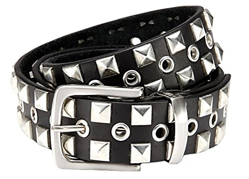 GIL-Design Nietengürtel schwarz Gürtel für Damen & Herren 3,8 cm breit Nieten-Gürtel - Mit Aufbewahrungsbeutel (Bundweite: 125cm = Gesamtlänge: 140cm, Schwarz)
