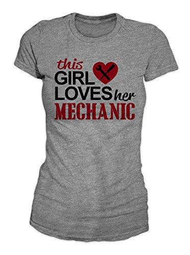 RiotBunny This Girl Loves Her Mechanic Cute Couple Petrolhead T-Shirt Damen Grau Large -