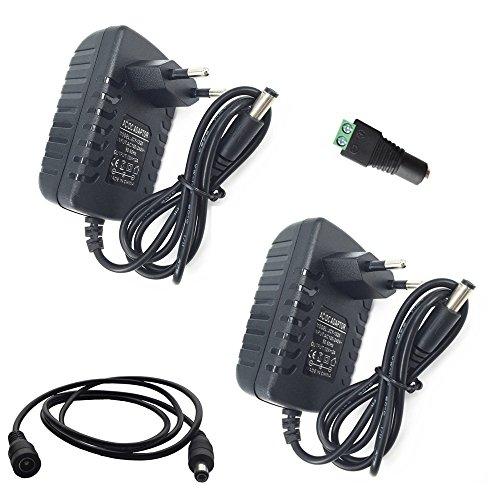 DZYDZR 2pcs 80-240V AC a DC Adaptador Alimentacion DC 12V 2A 24W 5,5 x 2,1/2,5mm Montaje en Pared de Energía Transformador para Tira de LED + Cable de Extensión 100cm + DC Conector Hembra