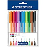 Staedtler - Ball 432 - Polybag 10 Stylos-Bille Triangulaires Pointe Moyenne Corps Translucides Assortis