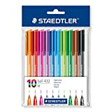 Staedtler Medium Rainbow Ballpoint Pens, Assorted, Pack of 10