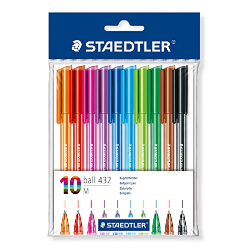 STAEDTLER 43235MBP10 Medium Rainbow Ballpoint Pens, Assorted Colours, Pack of 10 Test